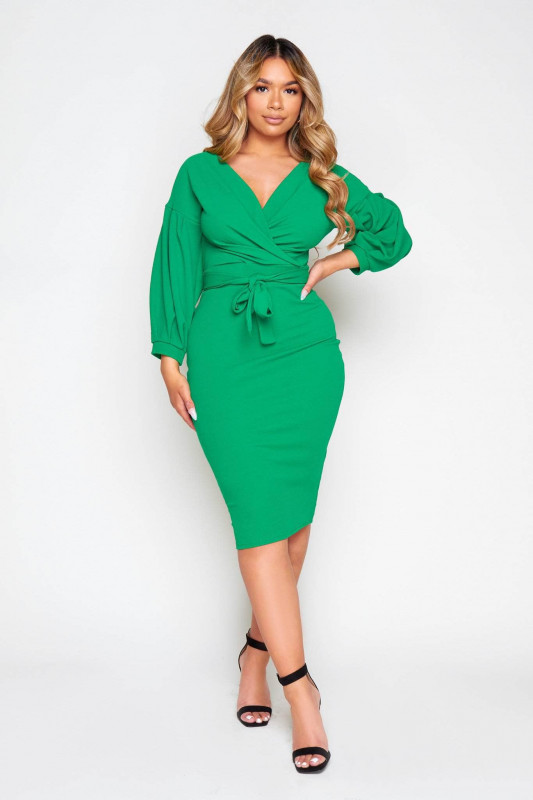 Green Wrap Midi Dress with Tie Waist