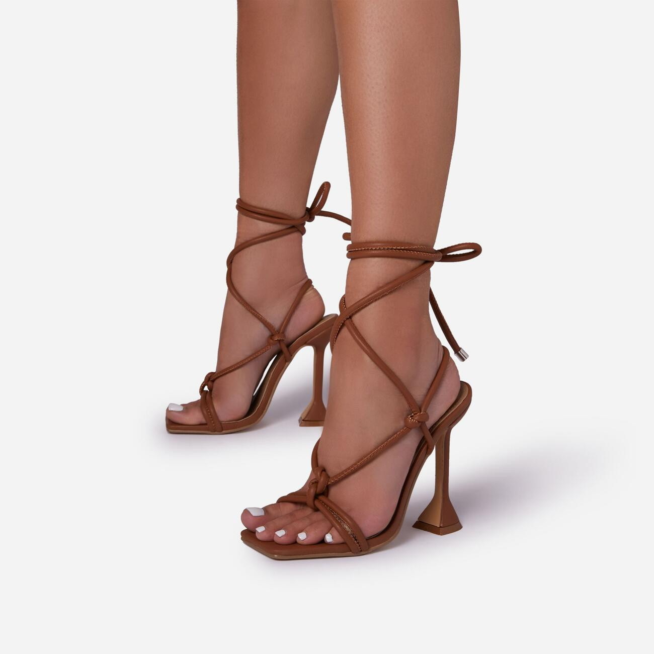 Fiat Lace Up Square Toe Sculptured Heel In Tan Brown Faux Leather