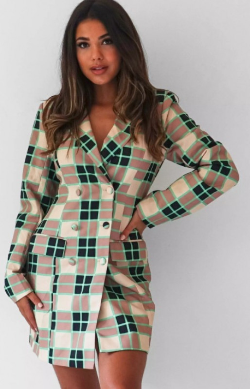 green check tailored blazer dress