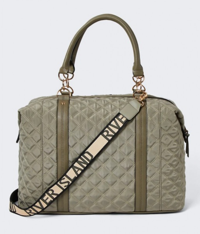 Green RI quilted holdall bag