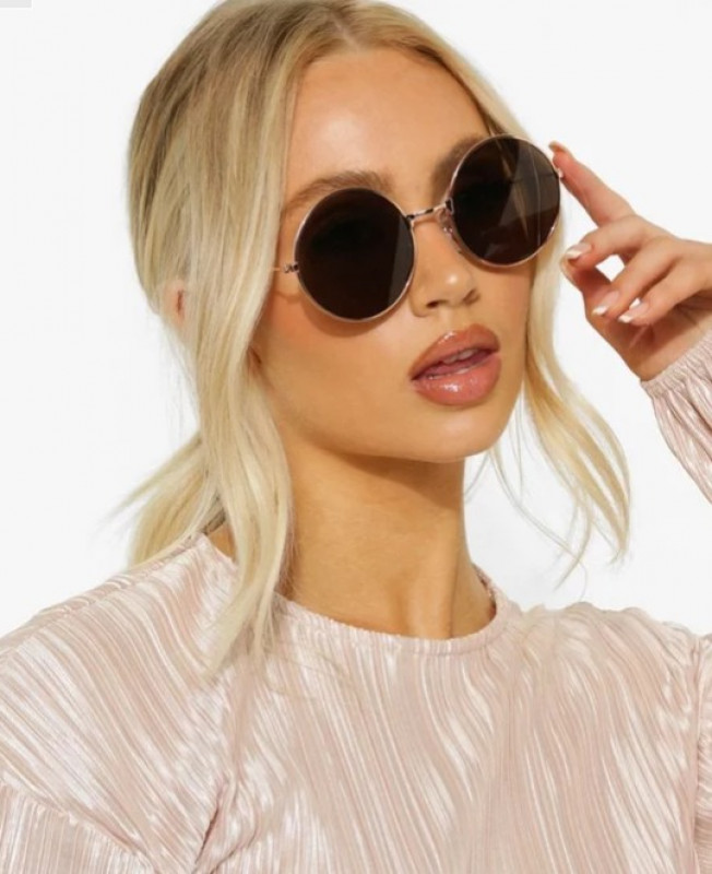 Gold Round Frame Brown Tinted Sunglasses