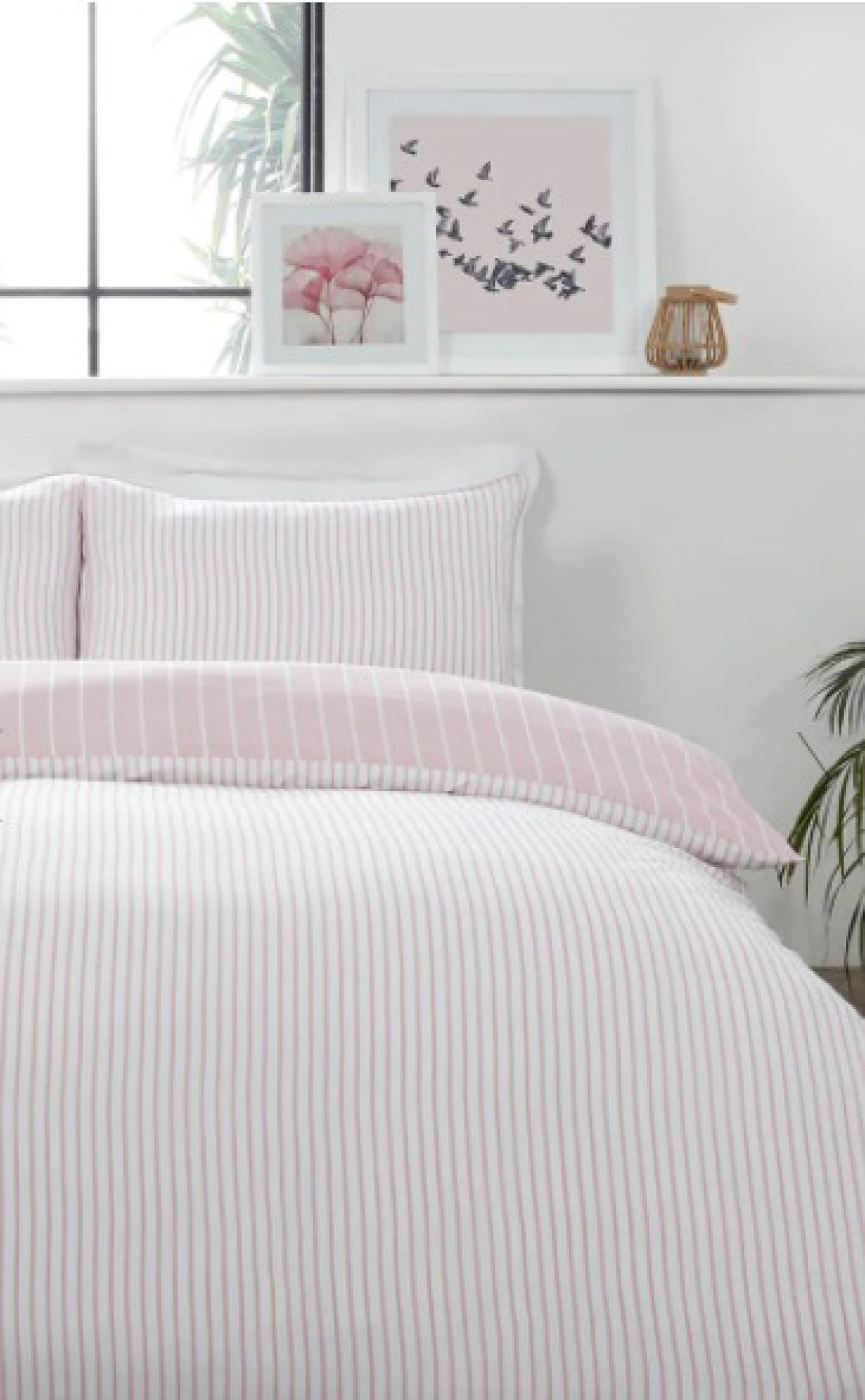 PINK REVERSE STRIPE DOUBLE DUVET SET