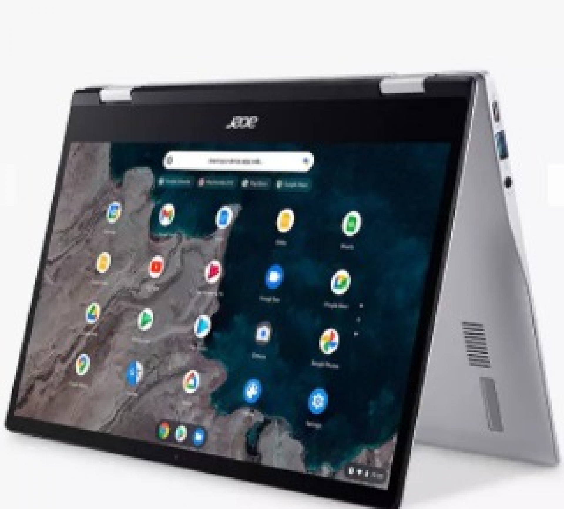 """Acer Chromebook Spin 513 CP513-1H Convertible Laptop, Qualcomm Snapdragon Processor, 4GB RAM, 64GB eMMC, 13.3"""" Full HD Touchscreen, Silver"""