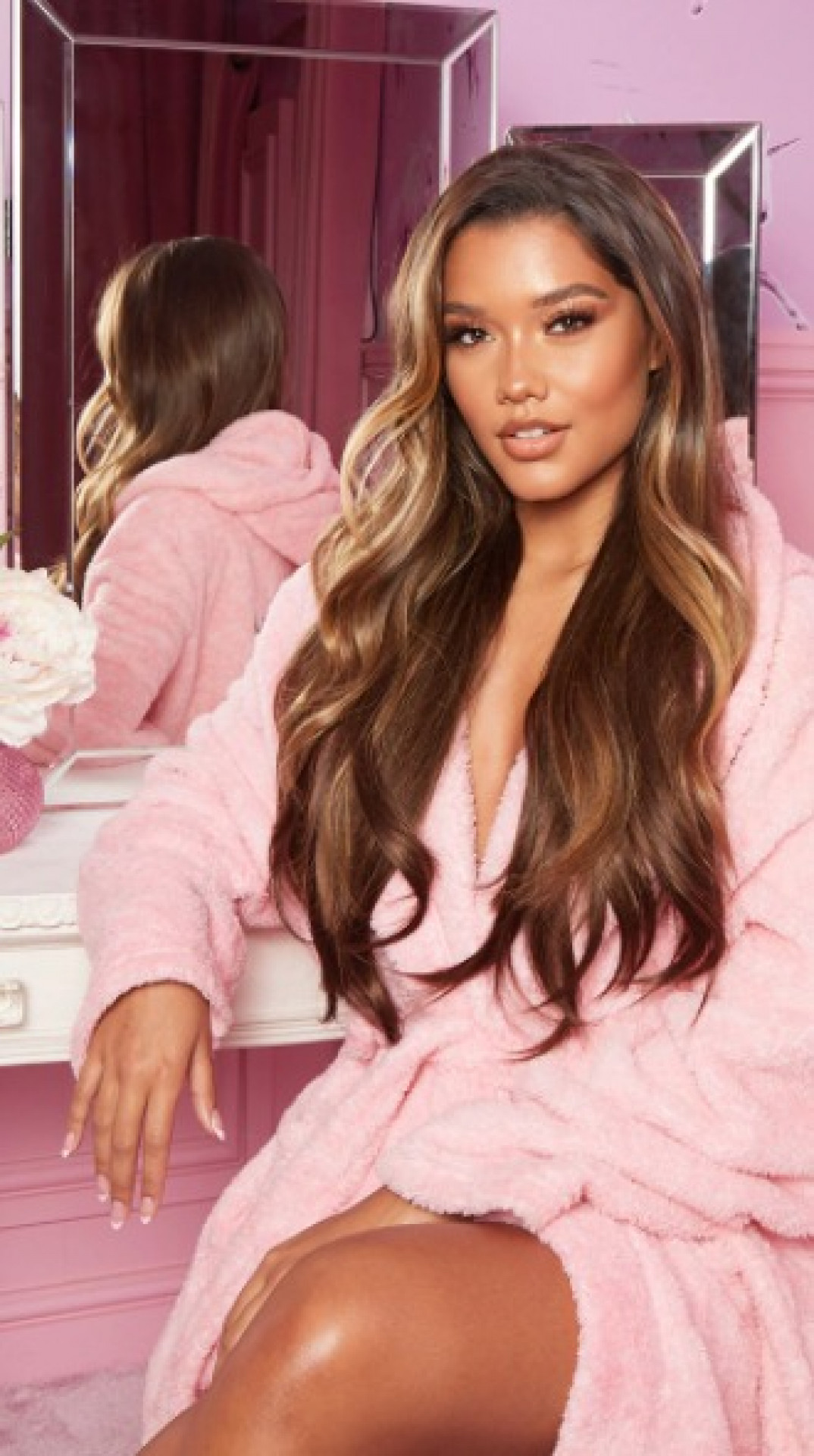 """LULLABELLZ 22"""" 5 PIECE STRAIGHT CLIP IN HAIR EXTENSIONS CHOC BROWN"""