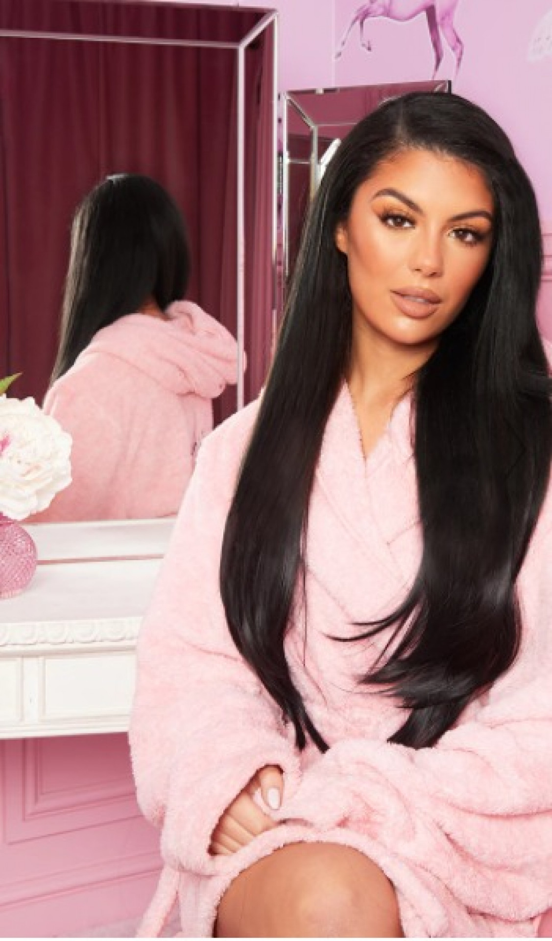 """LULLABELLZ 22"""" 5 PIECE STRAIGHT CLIP IN HAIR EXTENSIONS NATURAL BLACK"""