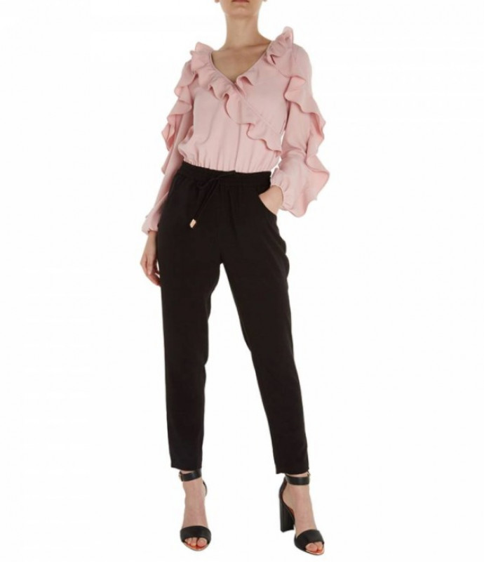 TED BAKER Pink/Black Bethane Ruffle Jumpsuit