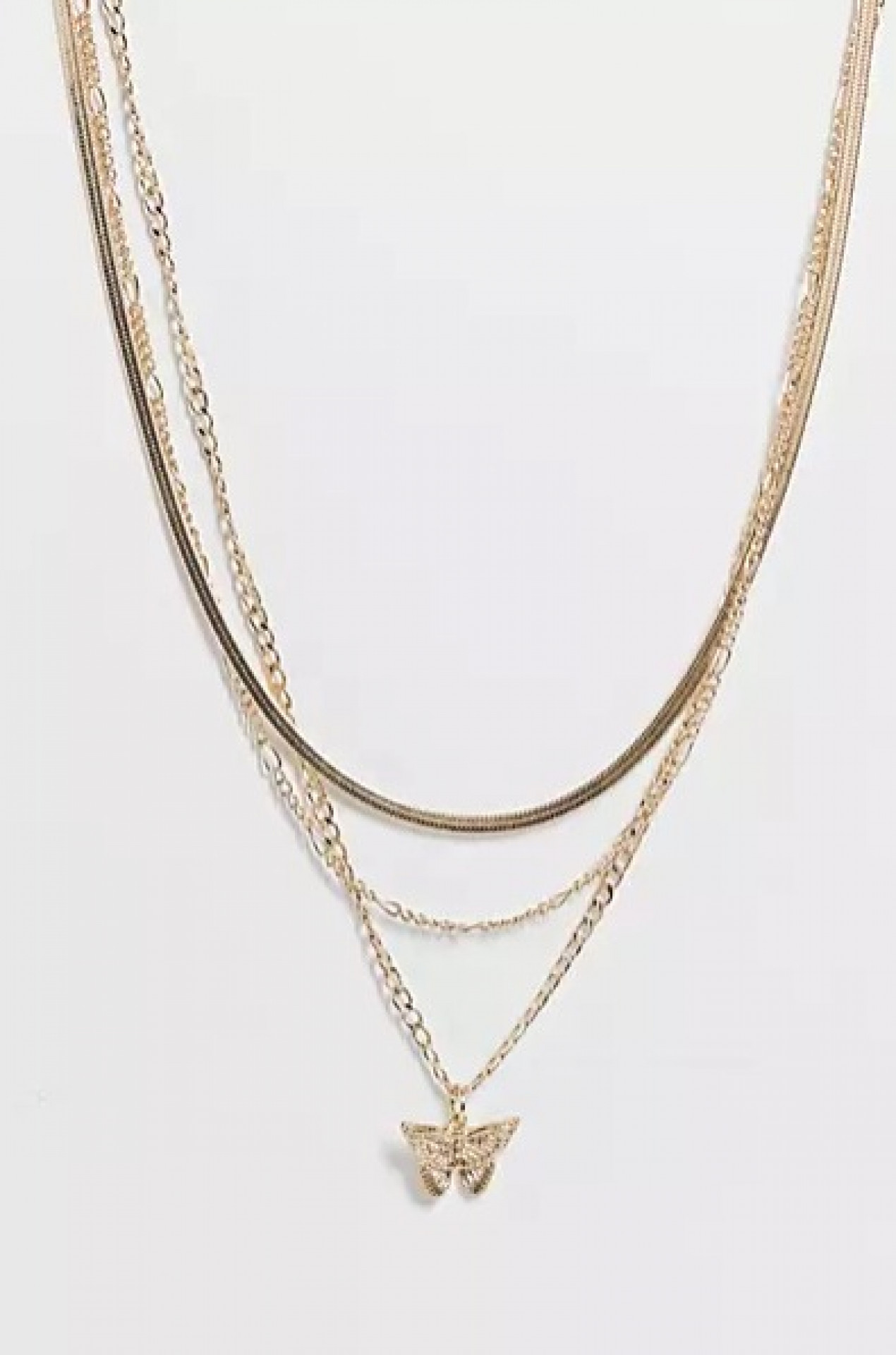Topshop butterfly multirow chain necklace in gold