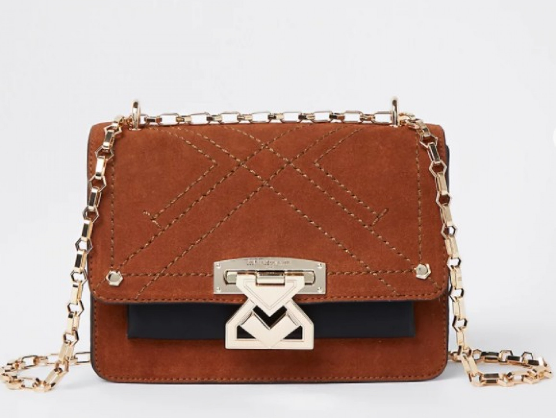 RSD brown suede satchel with lock front
