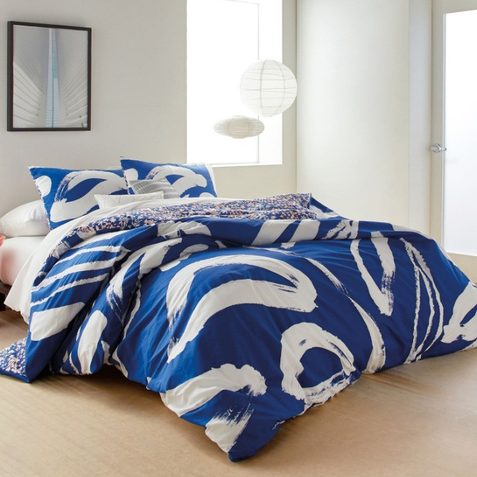 DKNY  Superking Blue Abstract Floral Duvet Cover