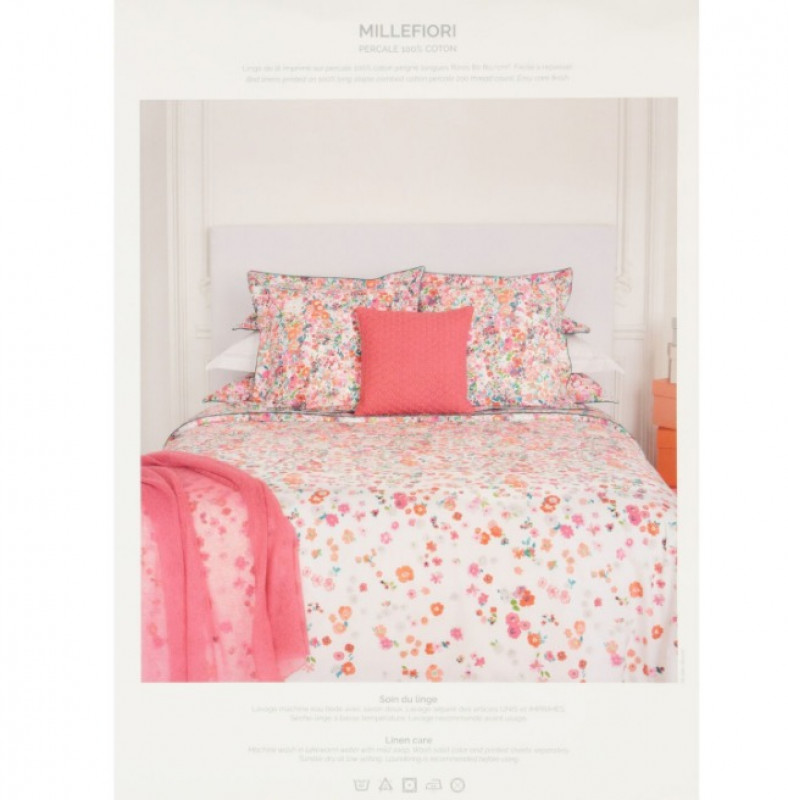 YVES DELORME  Double Pink Millefioro Fitted Sheet 200TC