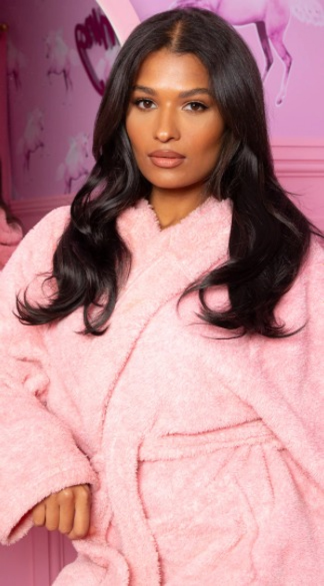 """LULLABELLZ SUPER THICK 16"""" 5 PIECE BLOW DRY WAVY CLIP IN HAIR EXTENSIONS NATURAL BLACK"""