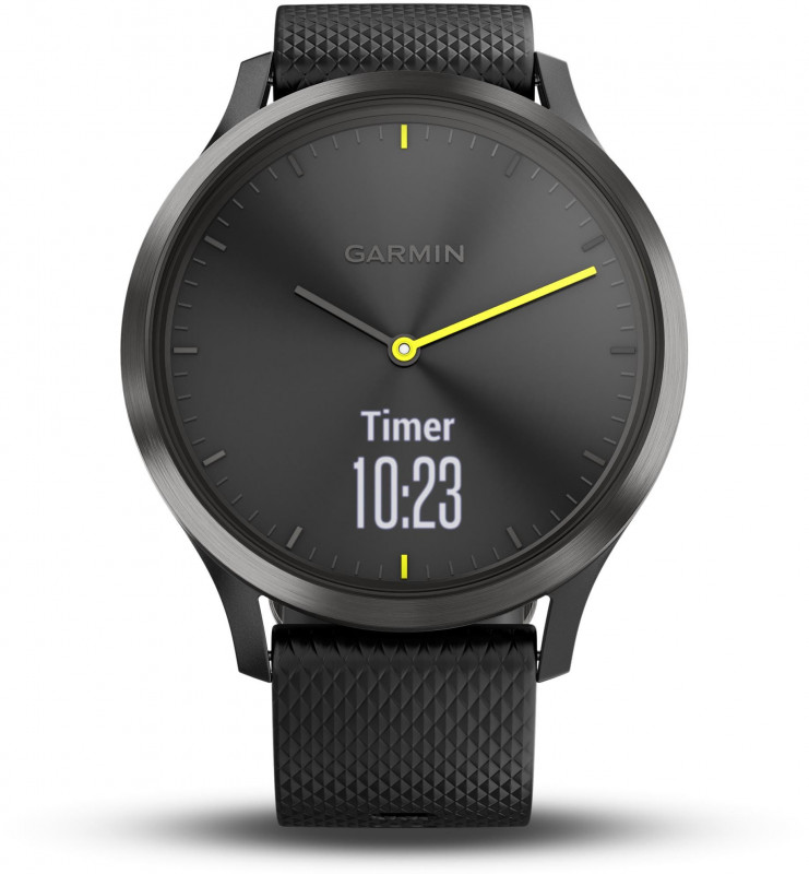 Garmin Vivomove Hybrid Heart Rate Monitor Smartwatch - Black with Silicone Band, Large