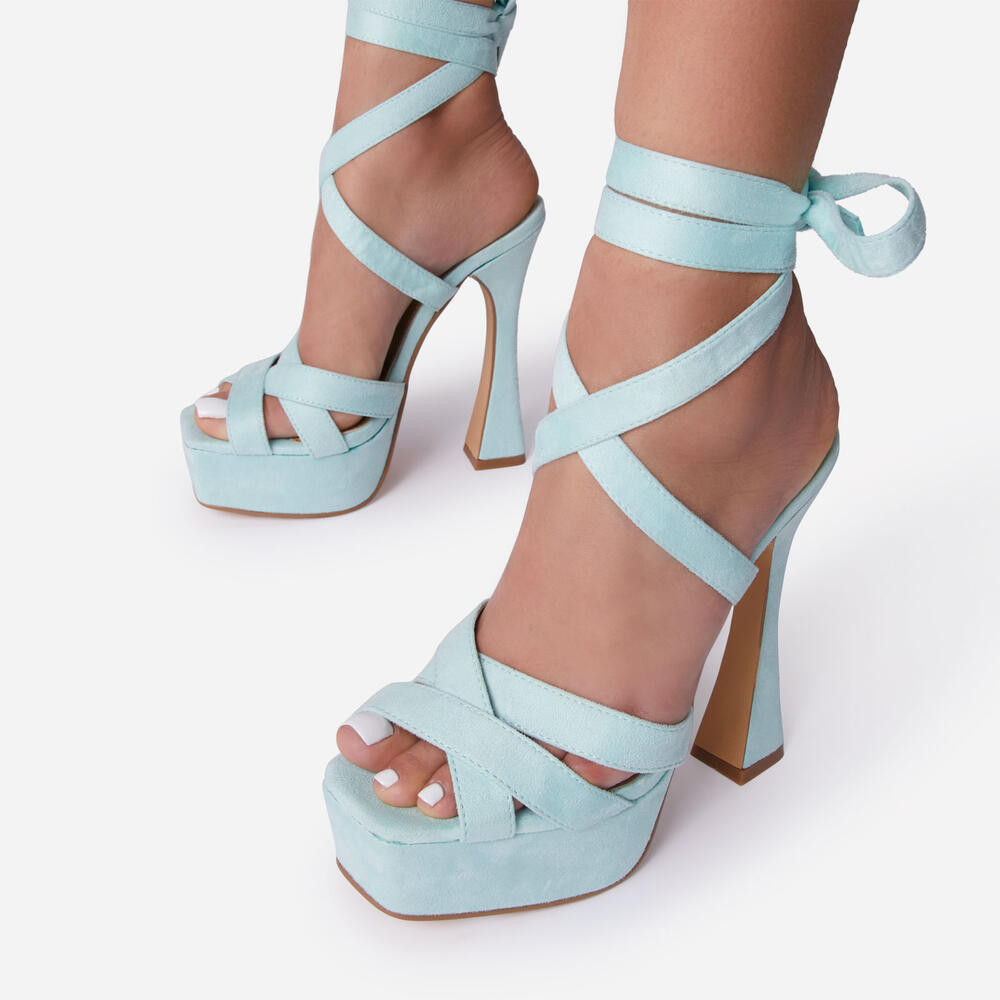 OLD-FLAME WOVEN STRAP LACE UP SQUARE PEEP TOE PLATFORM FLARED BLOCK HEEL IN BLUE FAUX SUEDE