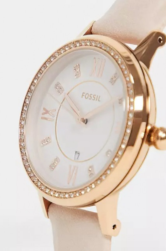 Fossil womens leather watch in pink