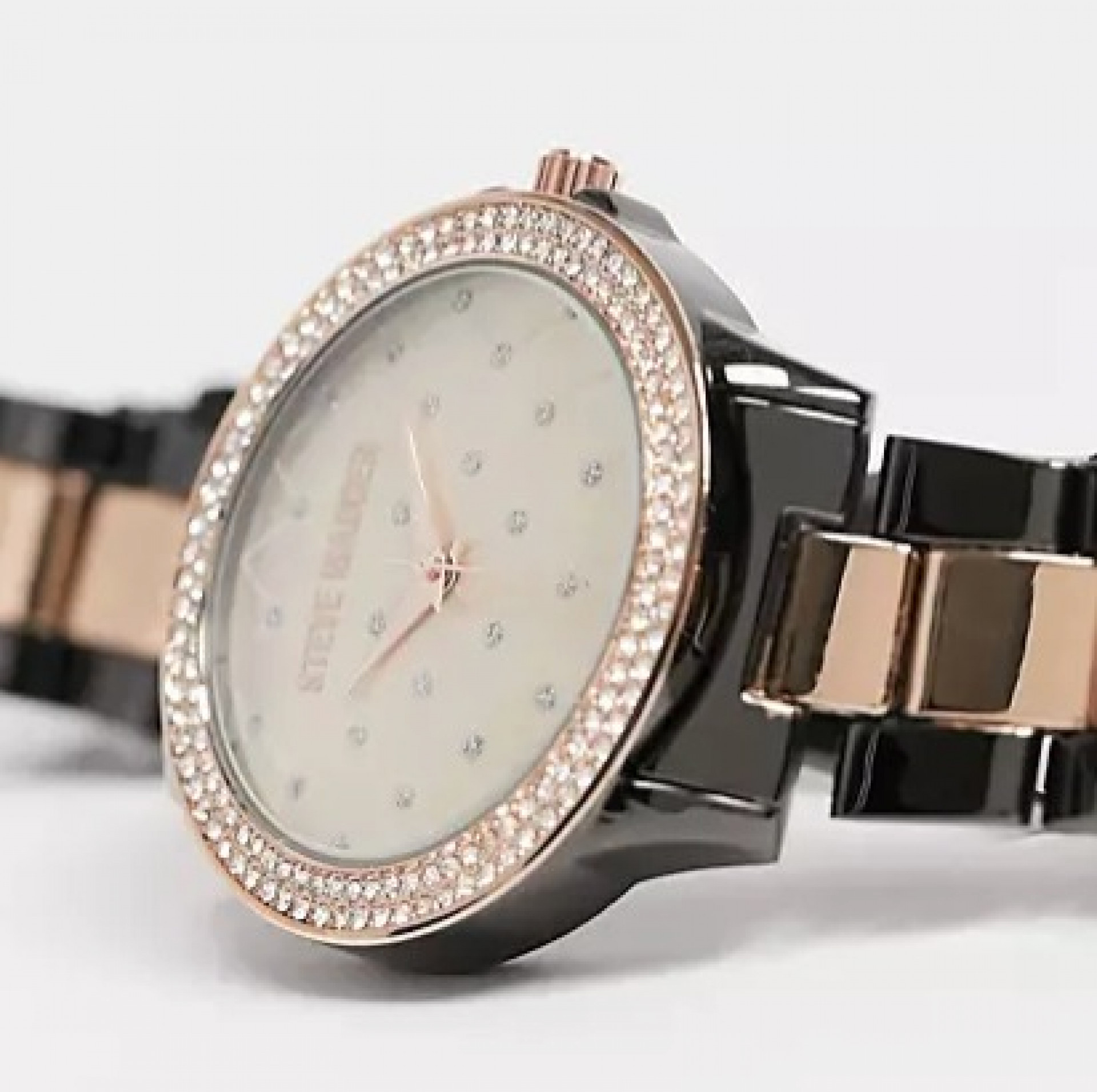 Steve Madden watch with quilted dial and stones in rose gold and black
