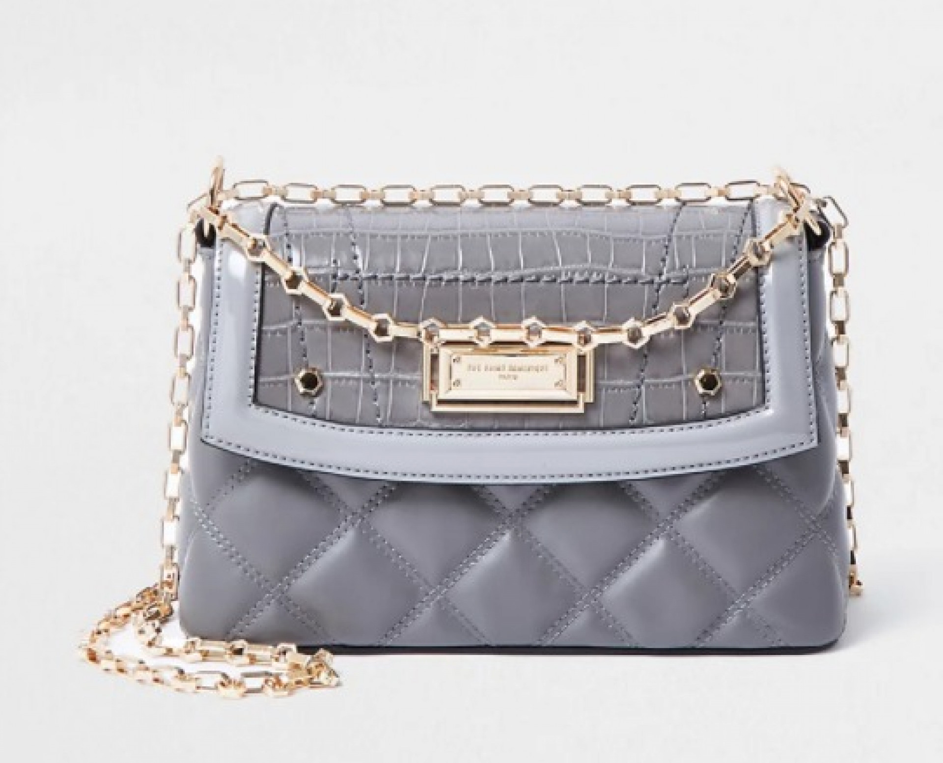 RSD grey croc and quilted shoulder bag