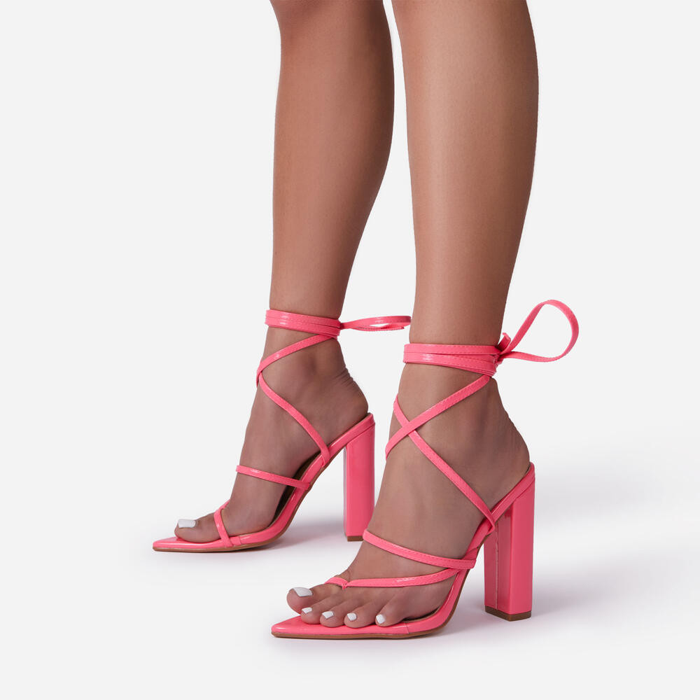 WILD-SOUL STRAPPY LACE UP POINTED TOE BLOCK HEEL IN PINK PATENT