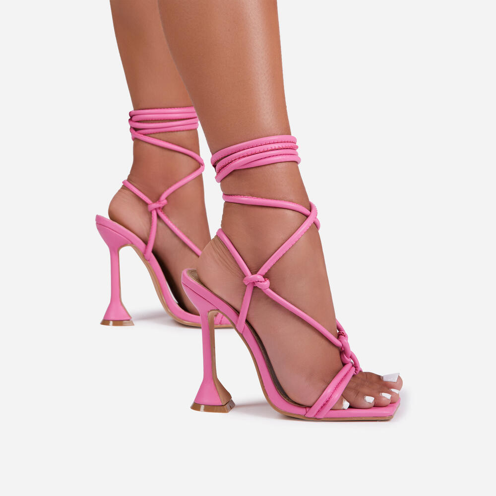 FIAT LACE UP SQUARE TOE SCULPTURED HEEL IN PINK FAUX LEATHER