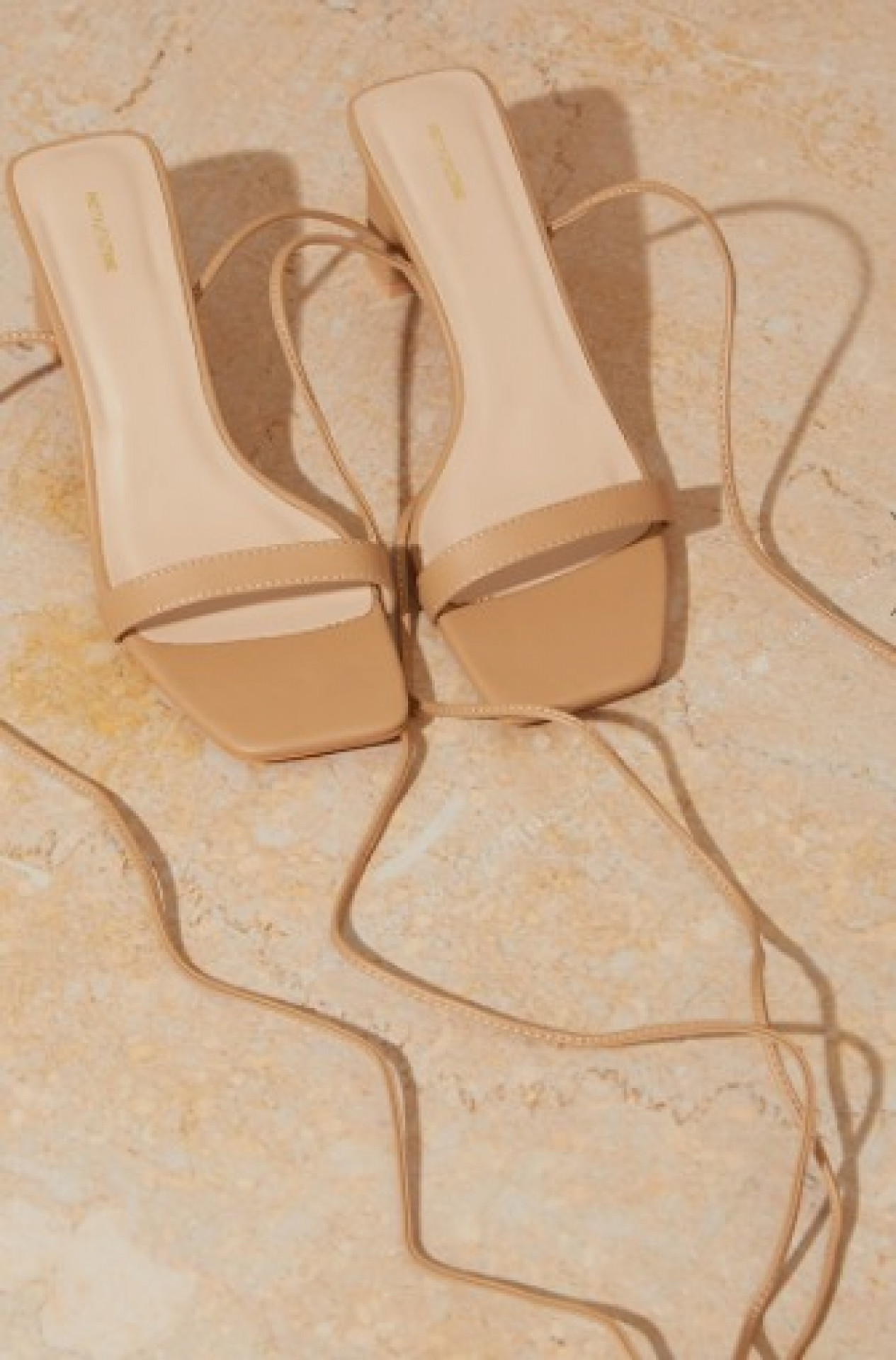 NUDE PU SQUARE TOE LACE UP LOW BLOCK HEELED SANDALS