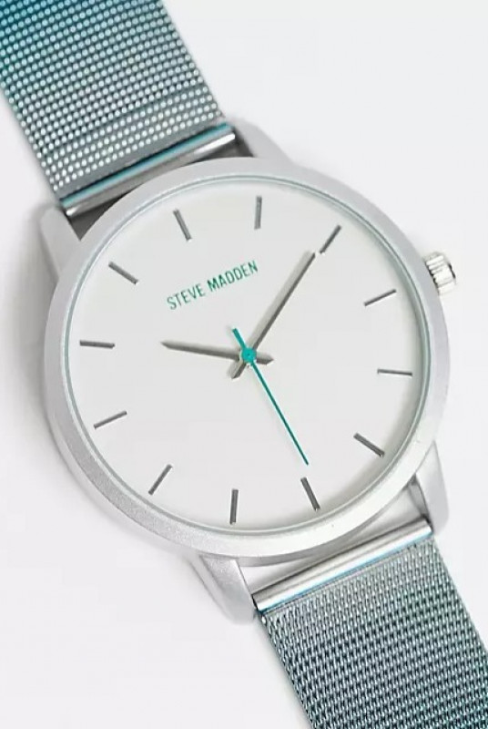 Steve Madden watch with mesh strap in silver