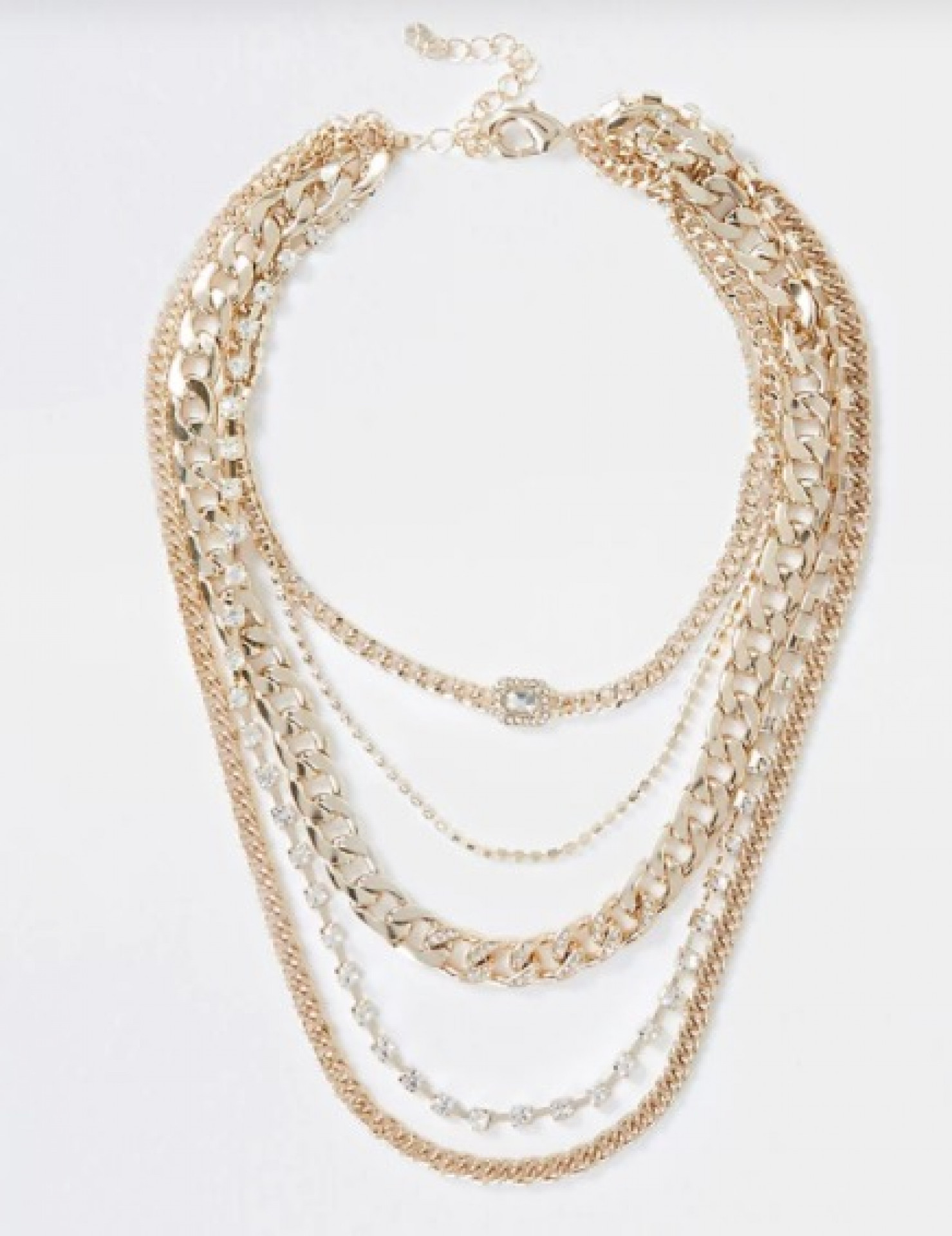 Gold chunky chain diamante necklace