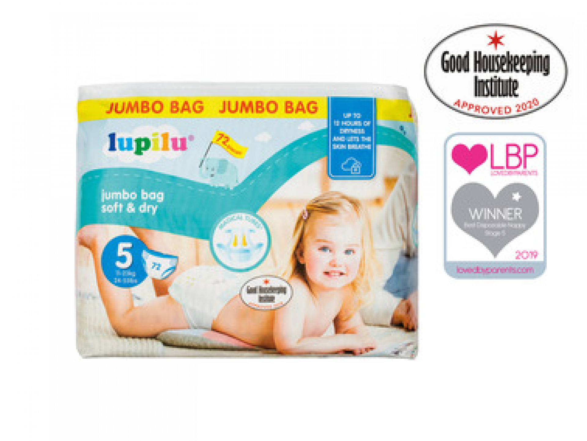 Soft & Dry Size 5 Junior Nappies - Jumbo Bag (98 pack)