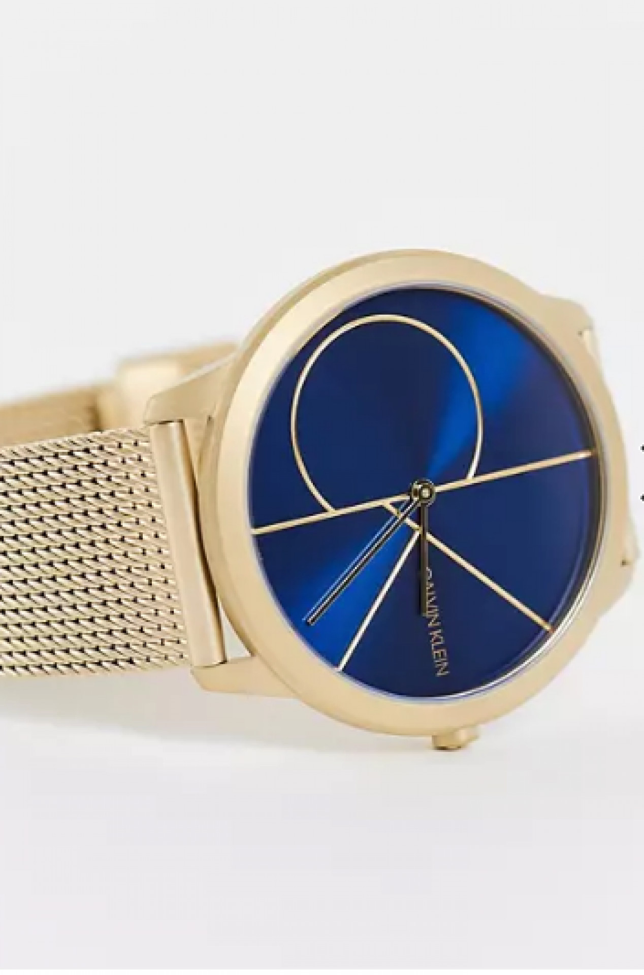 Calvin Klein gold strap watch with blue dial