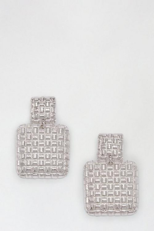 Silver Textured Square Drop Earrings
