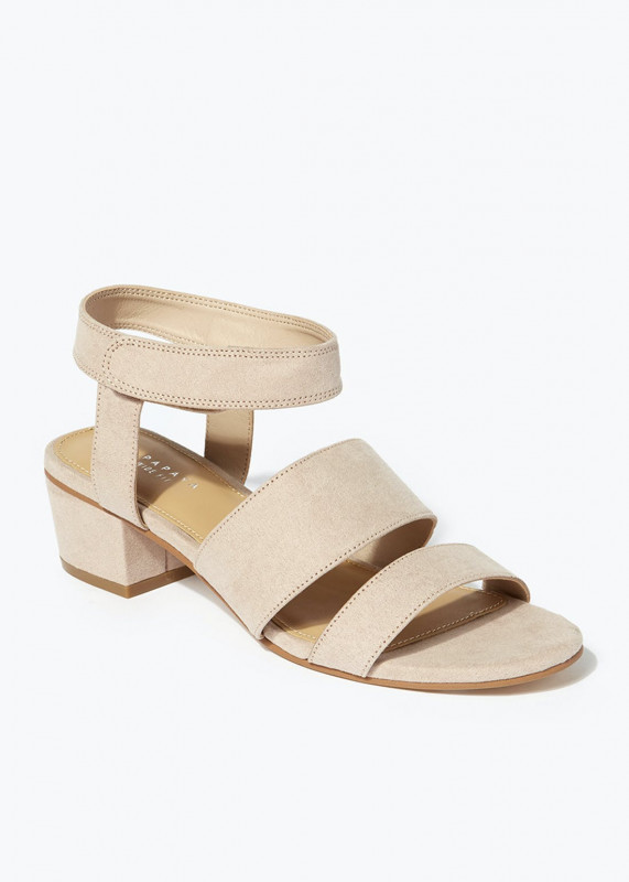 Taupe Wide Fit Riptape Strappy Sandals