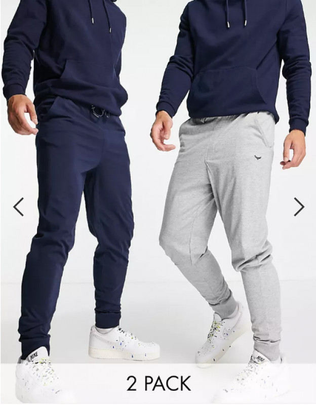Threadbare lounge 2 pack joggers in navy and grey