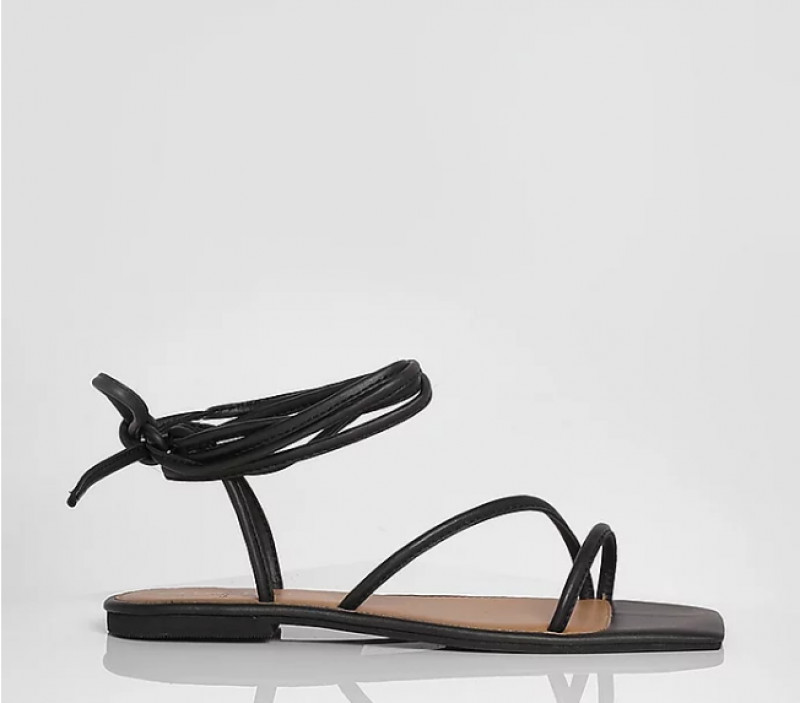 Wide Fit Leather Square Toe Wrap Up Sandals