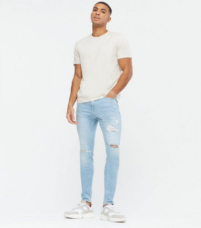 Bright Blue Extreme Rip Skinny Jeans