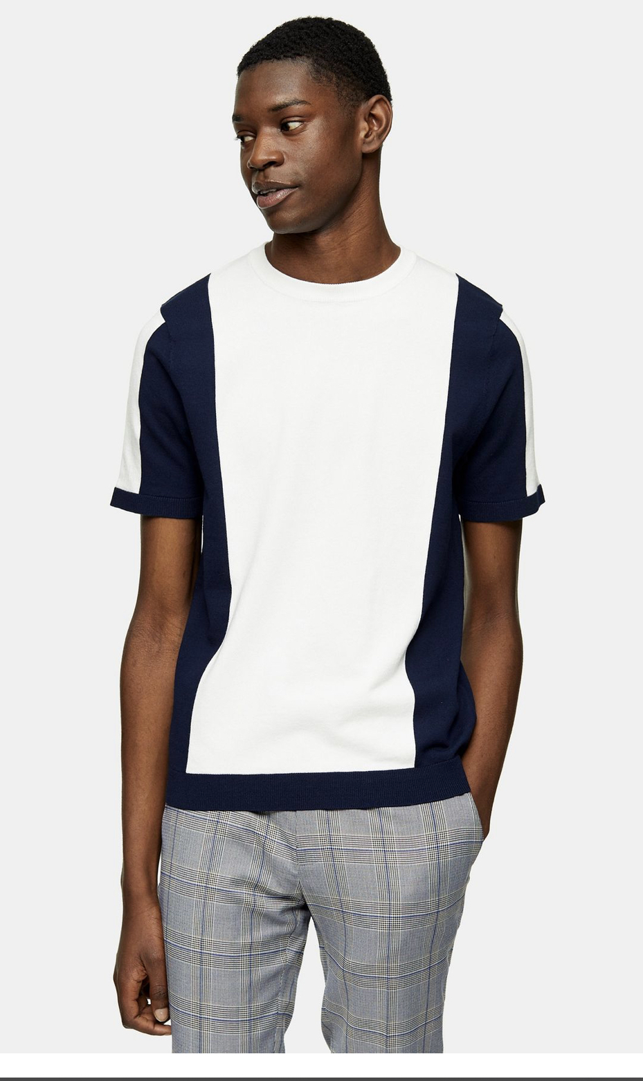 White And Navy Colour Block Knitted T-Shirt