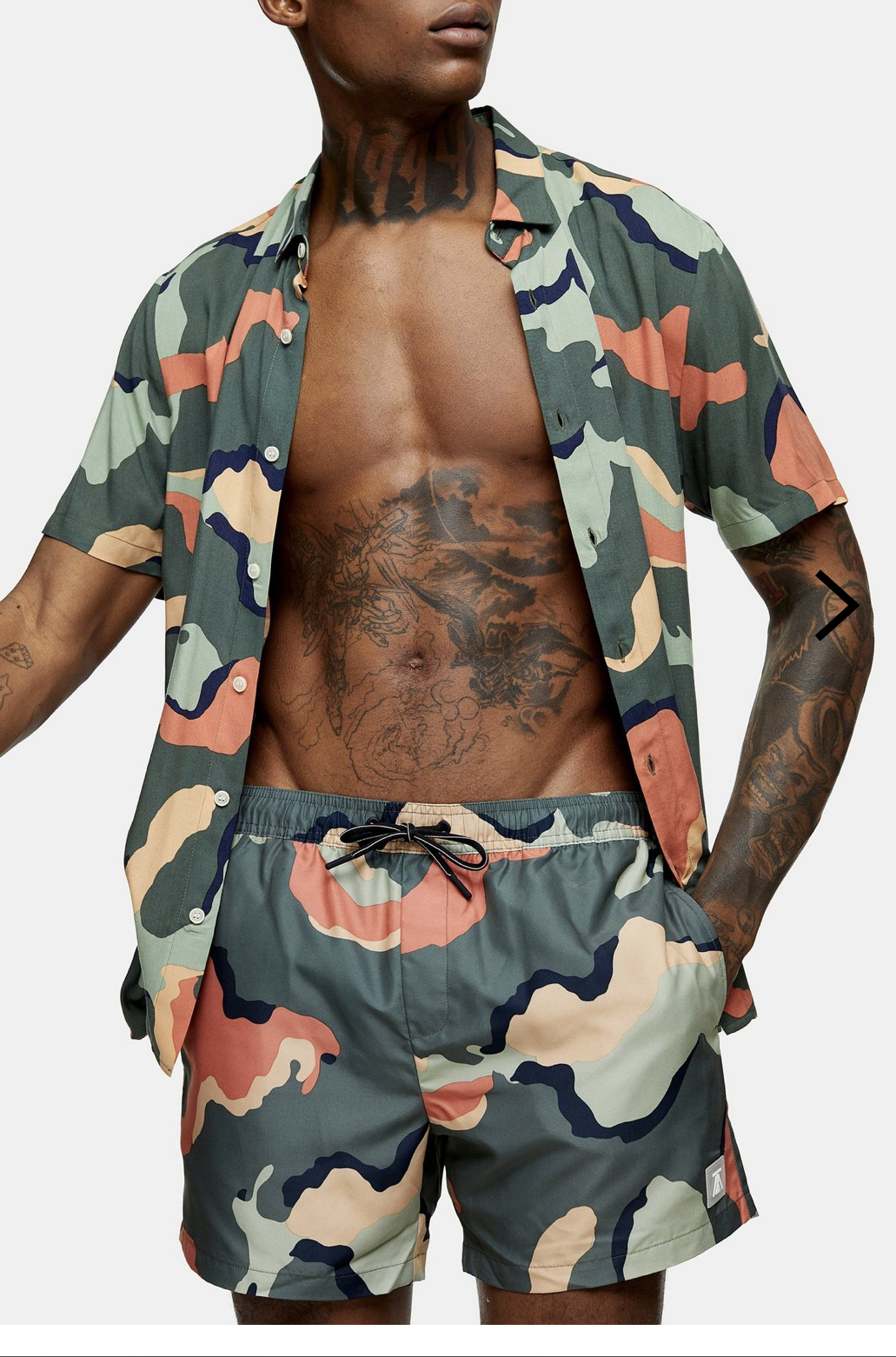 CONSIDERED Colourful Camouflage Print Swim Shorts