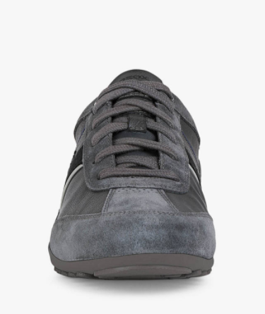 Geox Wells Leather Trainers, Anthracite