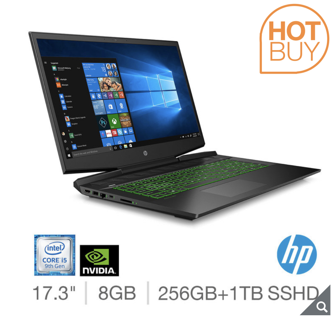 2020 HP Pavilion, Intel Core i5, 8GB RAM, 256GB SSD + 1TB HDD, NVIDIA GeForce GTX 1650, 17.3 Inch Gaming Laptop