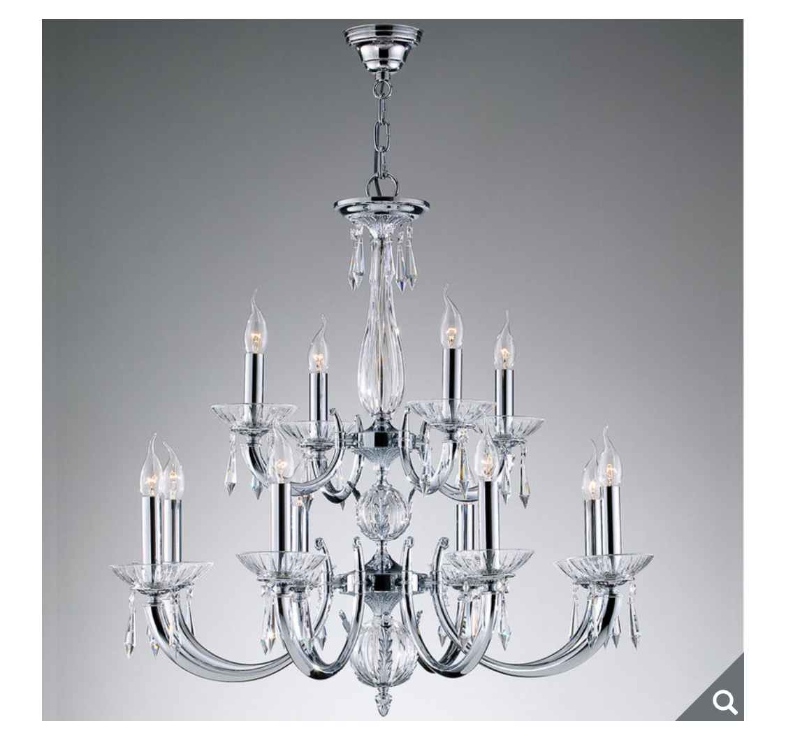 Swarovski Crystal Veronica 12 Light Chandelier in Chrome