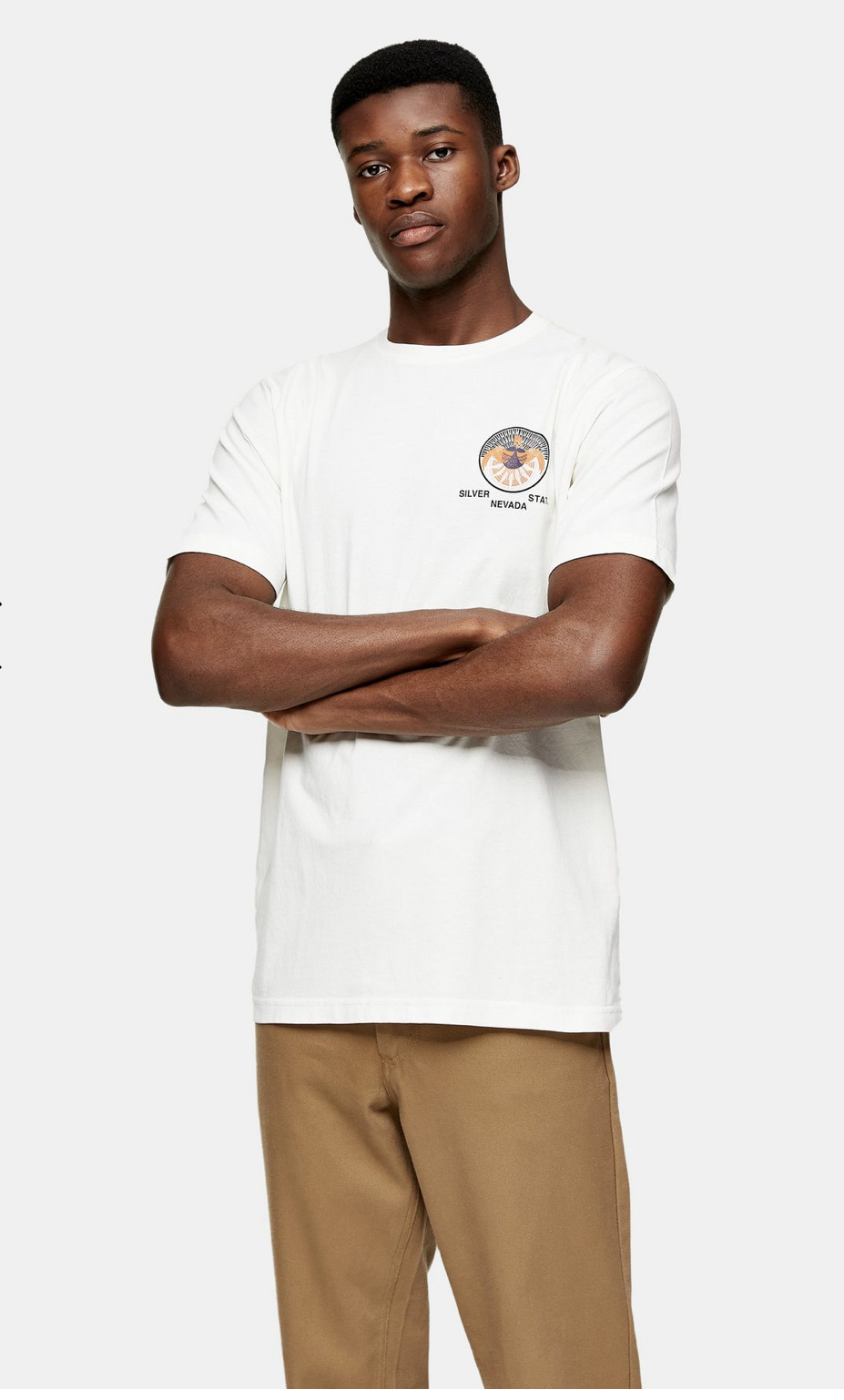 SELECTED HOMME White Print T-Shirt