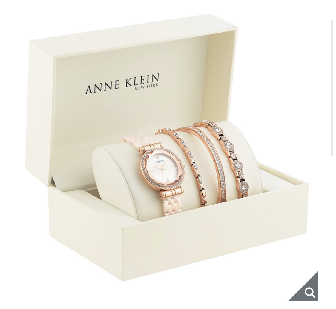 Anne Klein New York Swarovski Crystal Accented Ladies Rose Gold Tone Watch Set