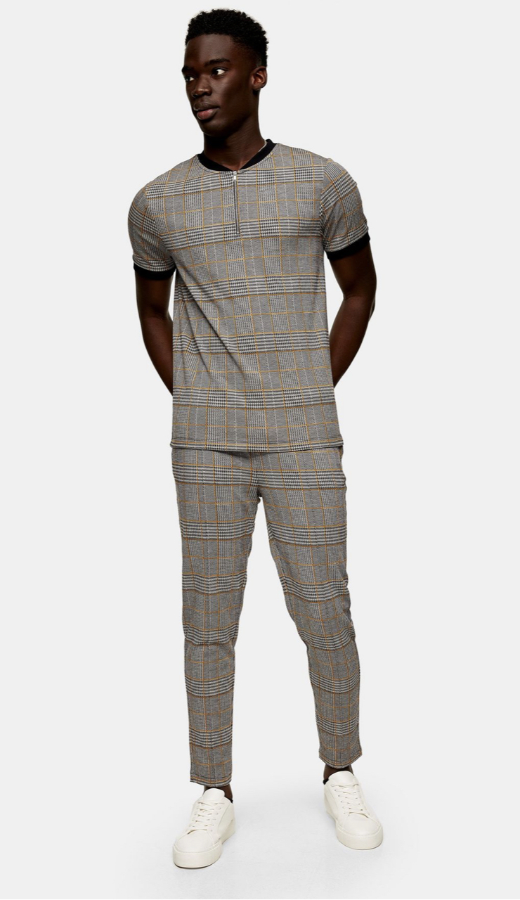 Grey And Mustard Check Tracksuit
