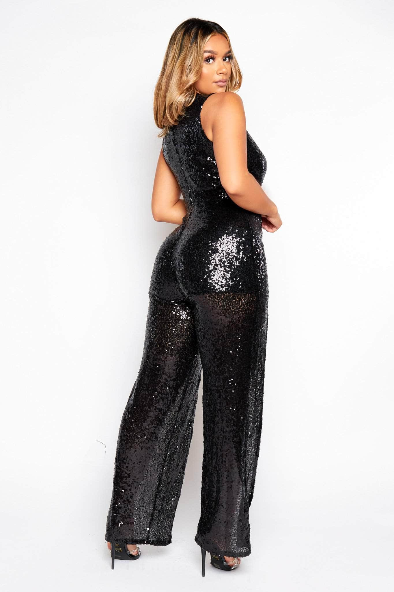Black Sequin Plunge Split Jumpsuit