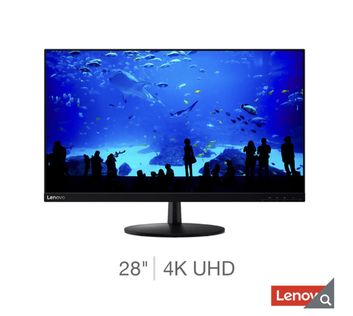 Lenovo L28U-30, 28 Inch 4K Ultra HD Monitor, 65FAGAC2UK
