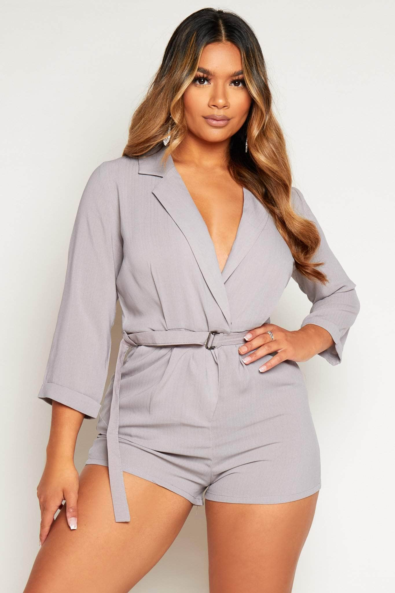 Grey Wrap Tux Belted Playsuit