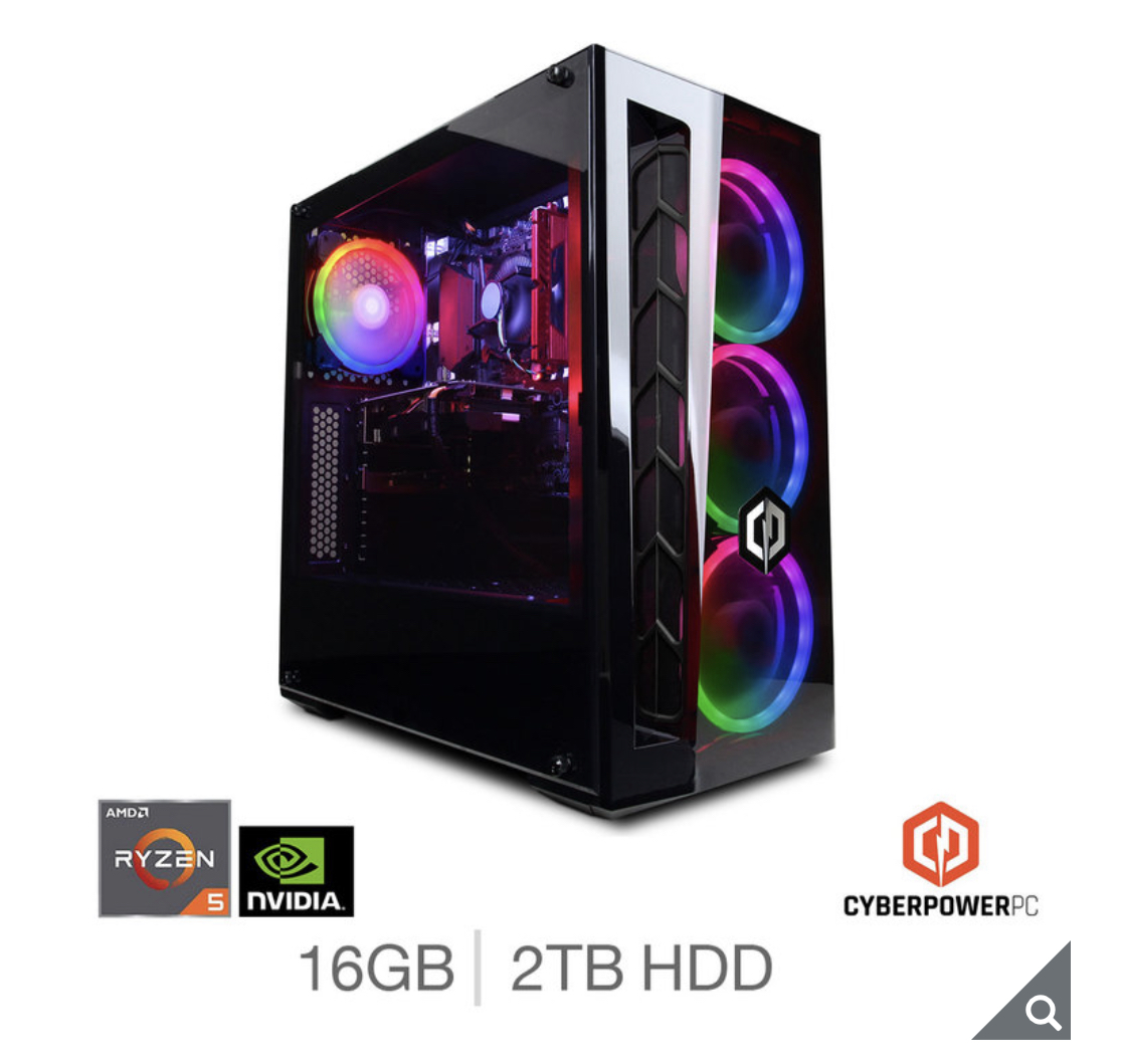 Cyberpower AMD Ryzen 5, 16GB RAM, 2TB HDD, NVIDIA GeForce GTX 1660 Gaming Desktop PC