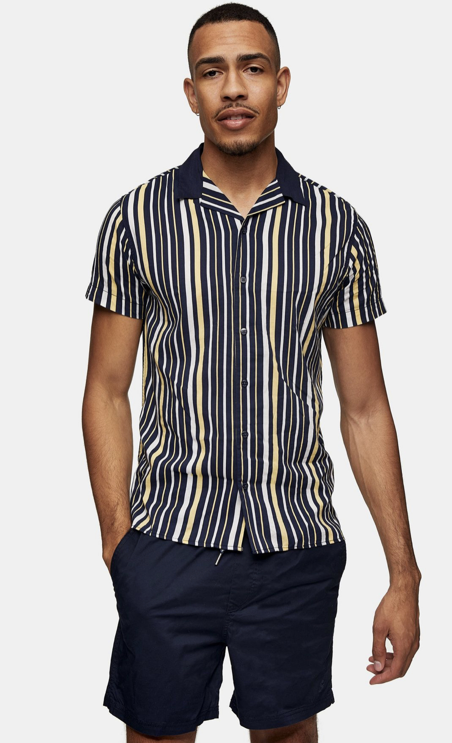 JACK & JONES Navy, White And Yellow Revere Shirt
