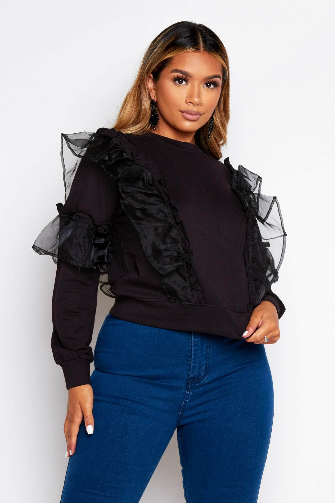Black Jersey Sweater with Ruffle Detailing