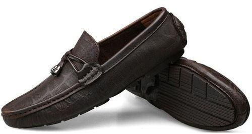 Loafers Male Leather Casual Brown