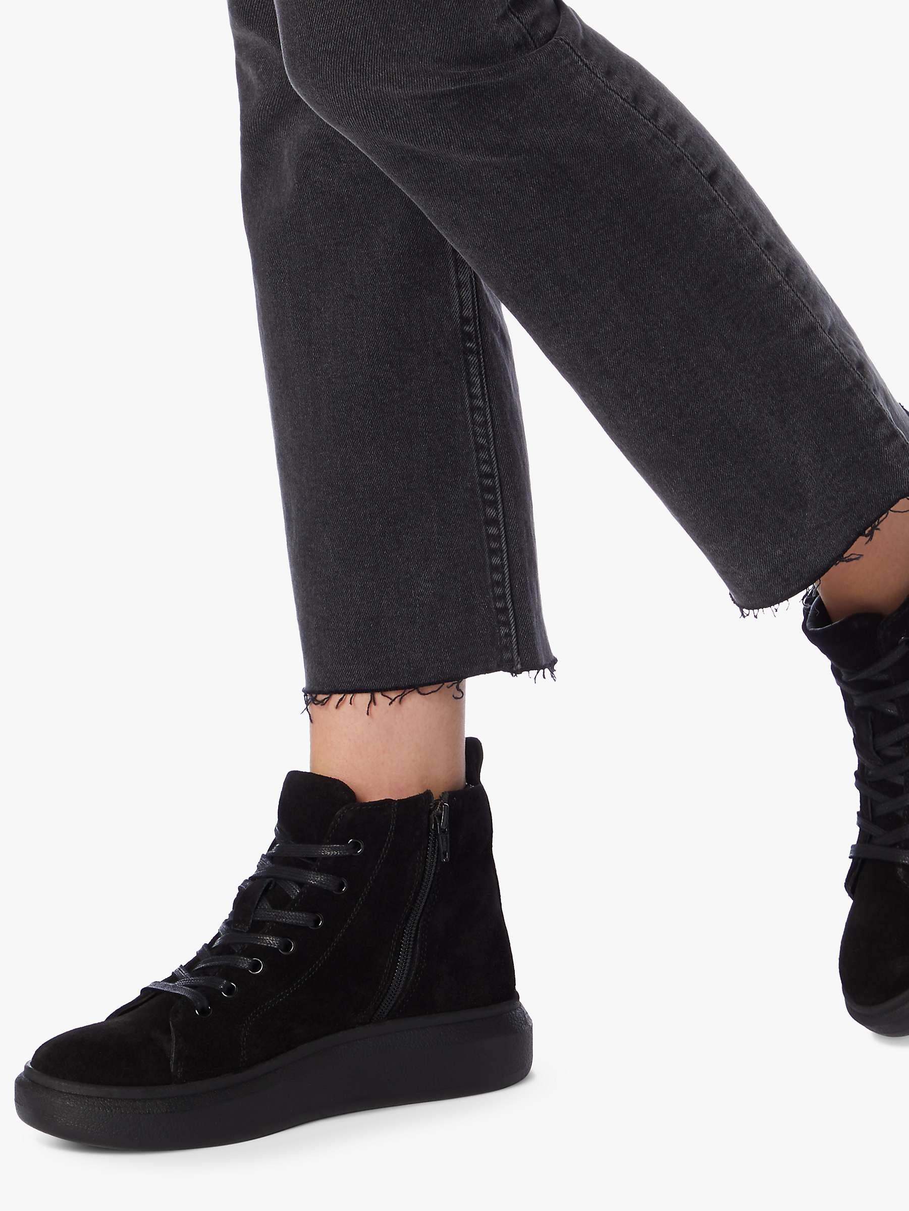 Dune Perrie Suede High Top Trainers, Black