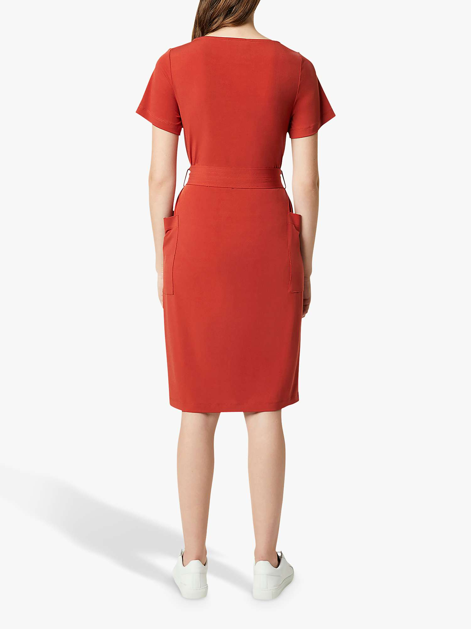 French Connection Shanika Slinky Square Neck utton Detail Dress, Red Ochre