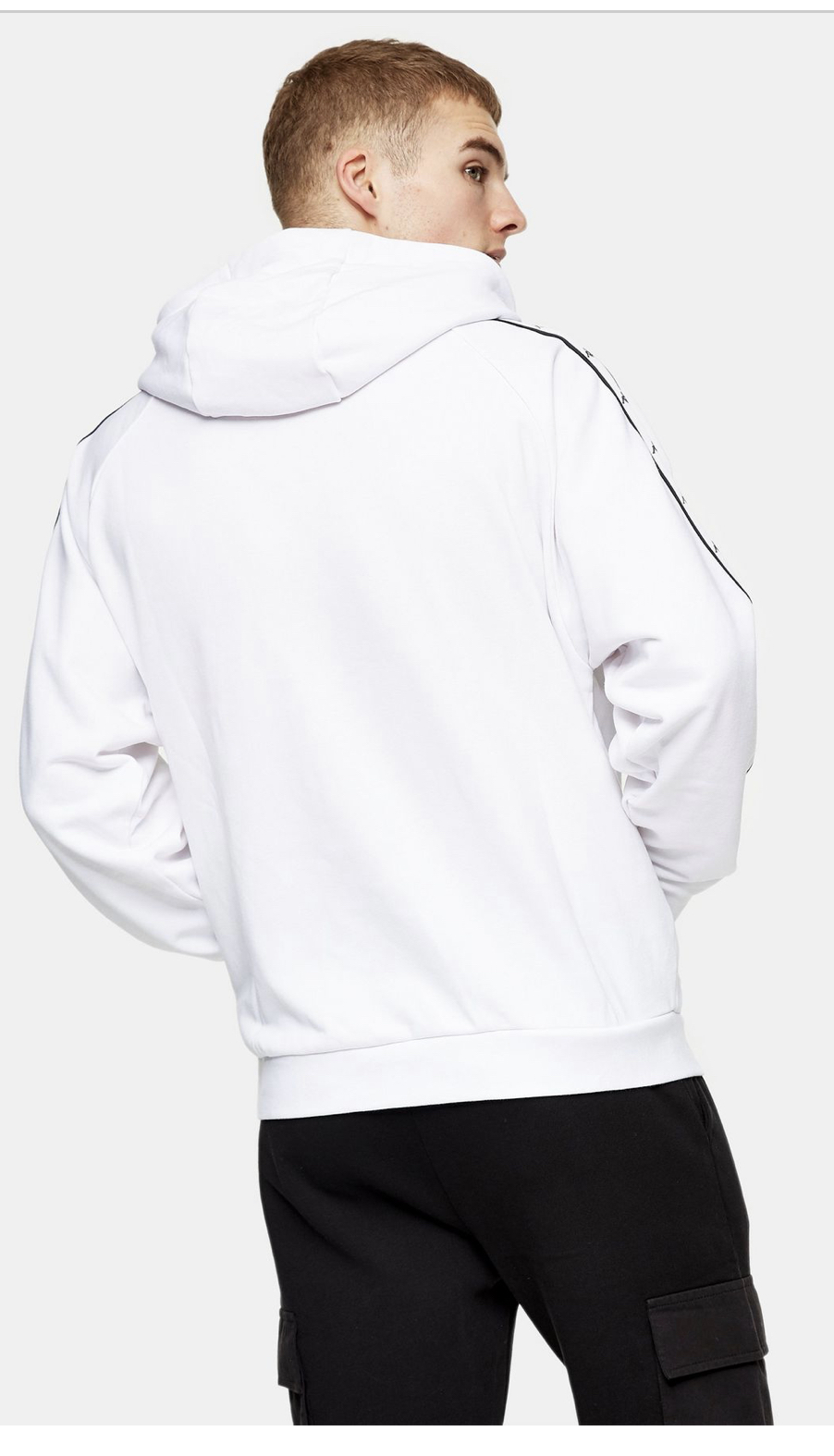 KAPPA White Side Tape Detail Large Logo Pull Over Hoodie